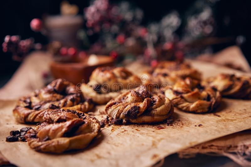 Cinnabon with chocolate as cake food concept. Close up view stock photography