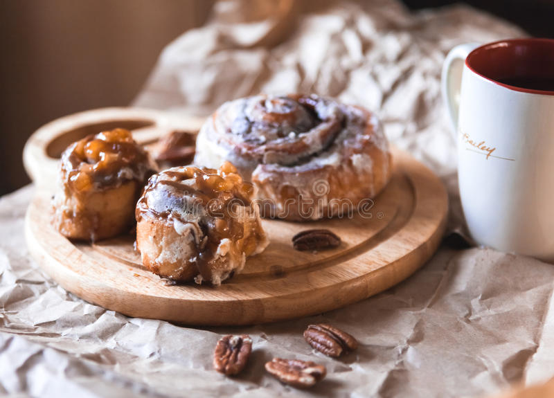 Cinnabon with coffee royalty free stock images