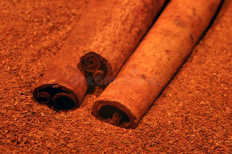 Cinnamon. Whole and milled cinnamon royalty free stock photography