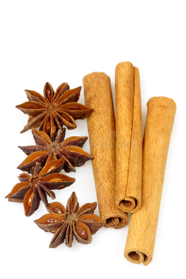 Cinnamon and anise stock images
