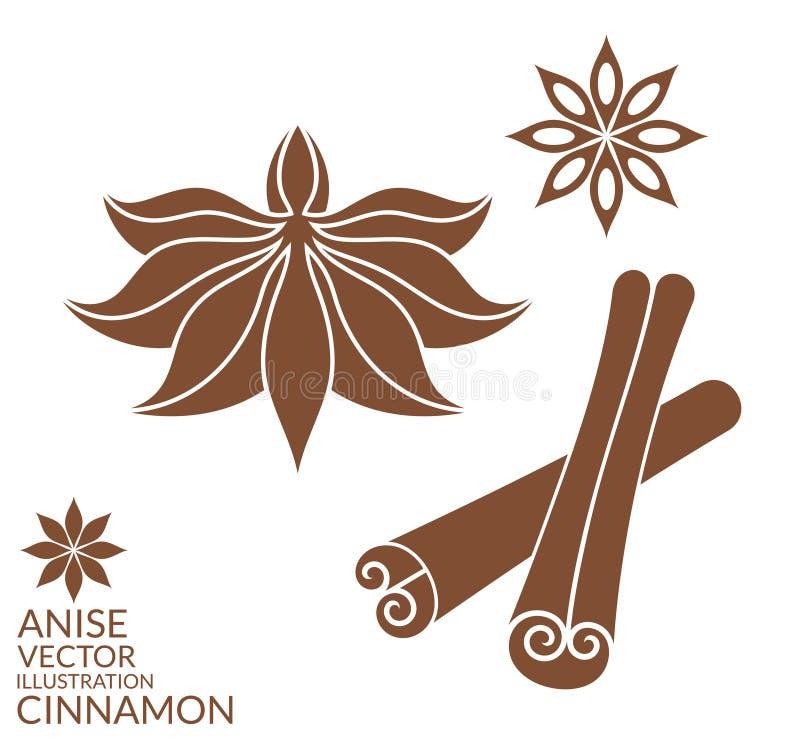 Cinnamon. Anise. Isolated on white background vector illustration