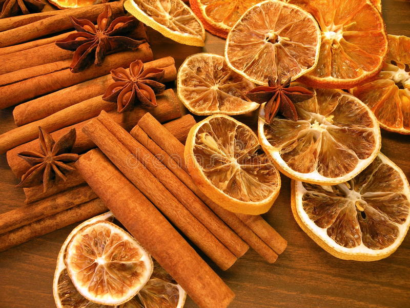 Cinnamon,anise and orange royalty free stock photography