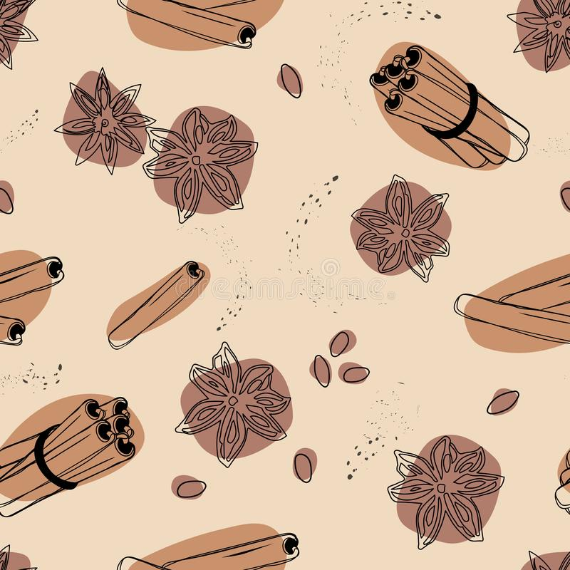Cinnamon and anise seamless vector background. Spices for coffee. Cinnamon and anise seamless vector background. Spices for coffee vector illustration
