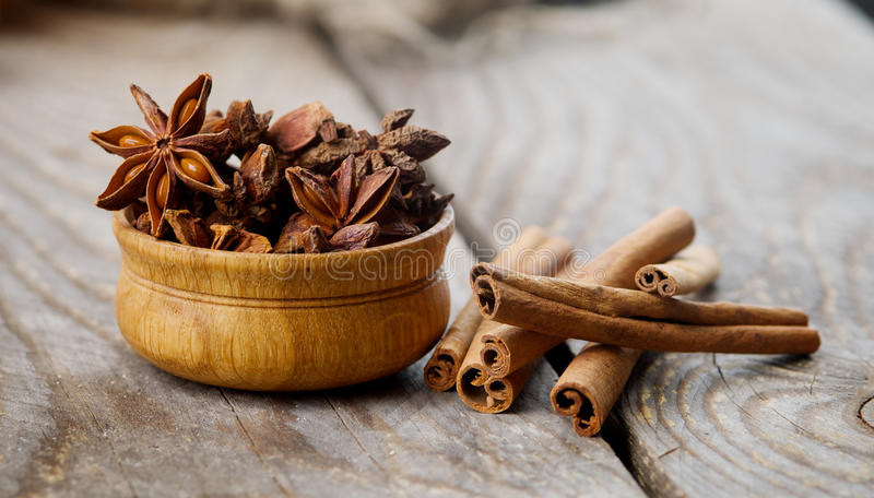 Cinnamon and anise royalty free stock photo