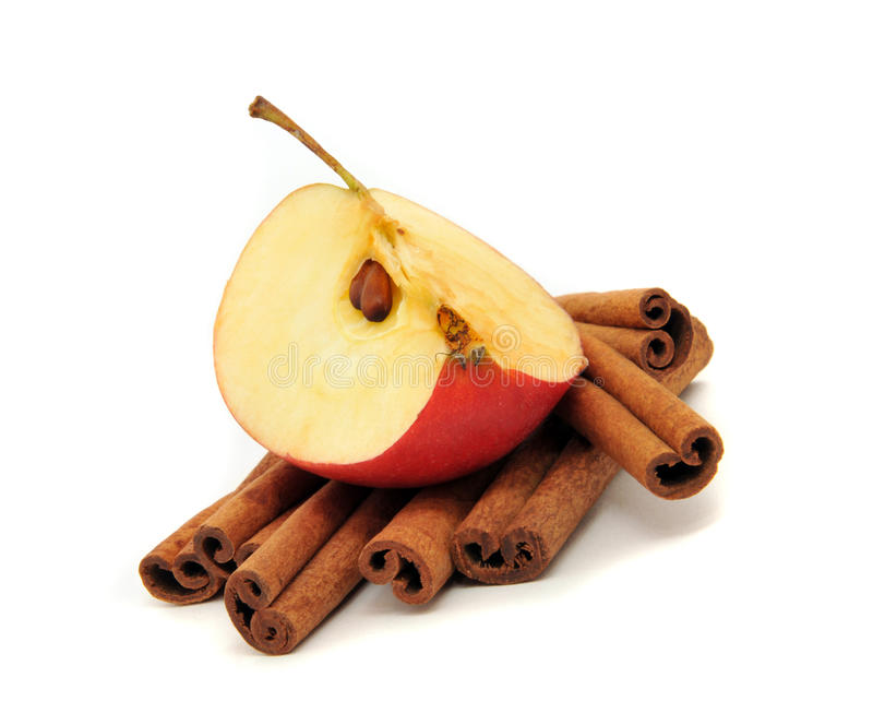 Cinnamon and apple. Closeup on white background. Isolation stock photography