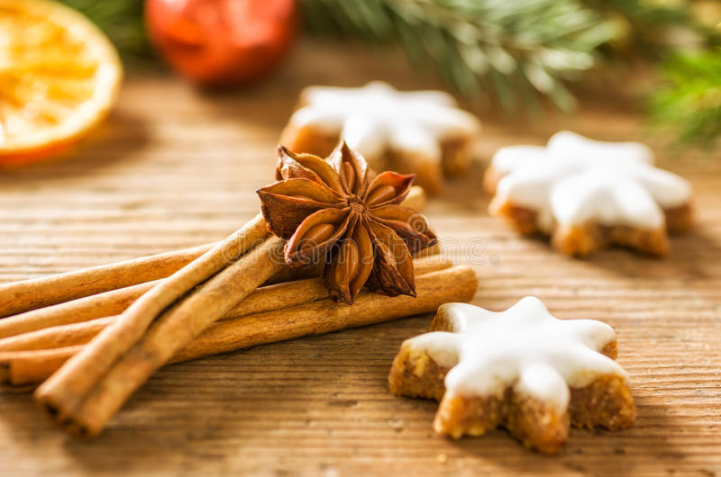 Cinnamon biscuits and christmasy spices. Cinnamon biscuits and christmassy spices stock image