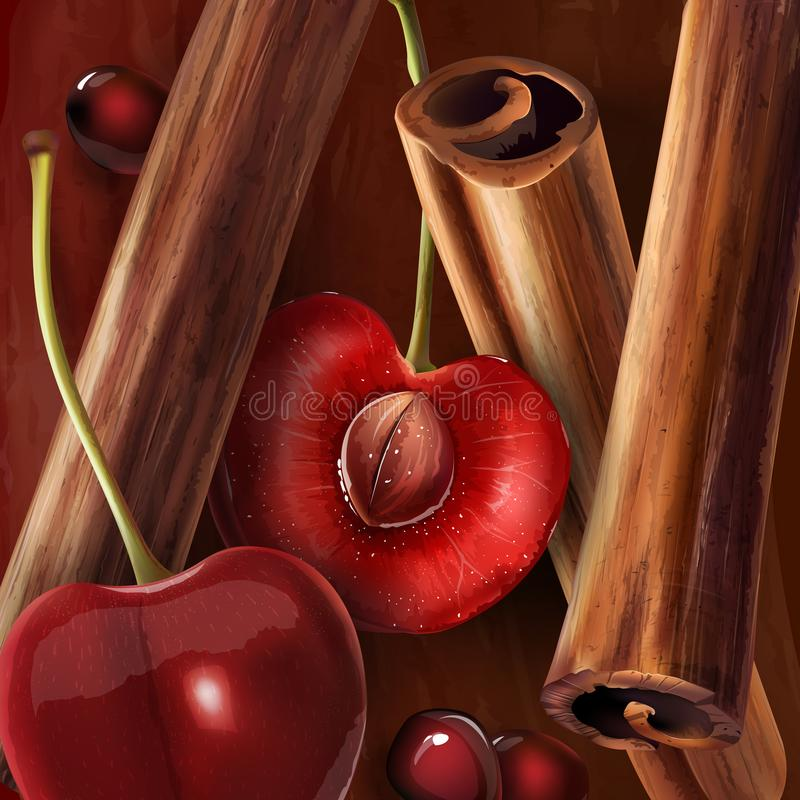 Cinnamon and cherry. On a wine-colored background stock illustration