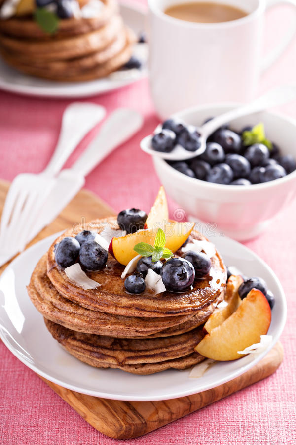 Download Cinnamon Coconut Flour Pancakes With Fresh Fruits Stock Image - Image of food, maple: 62080209