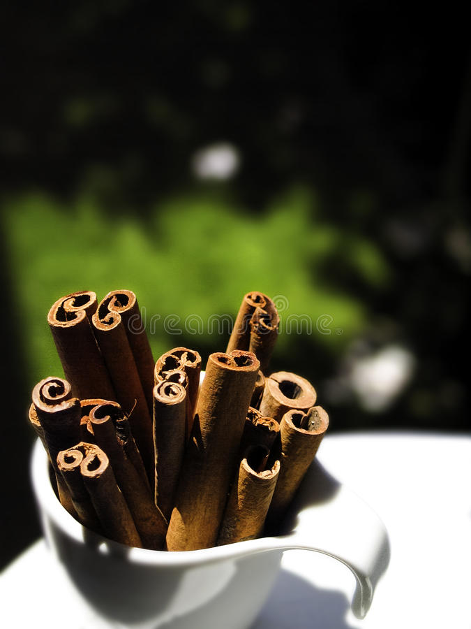 Cinnamon in coffee cup royalty free stock photography