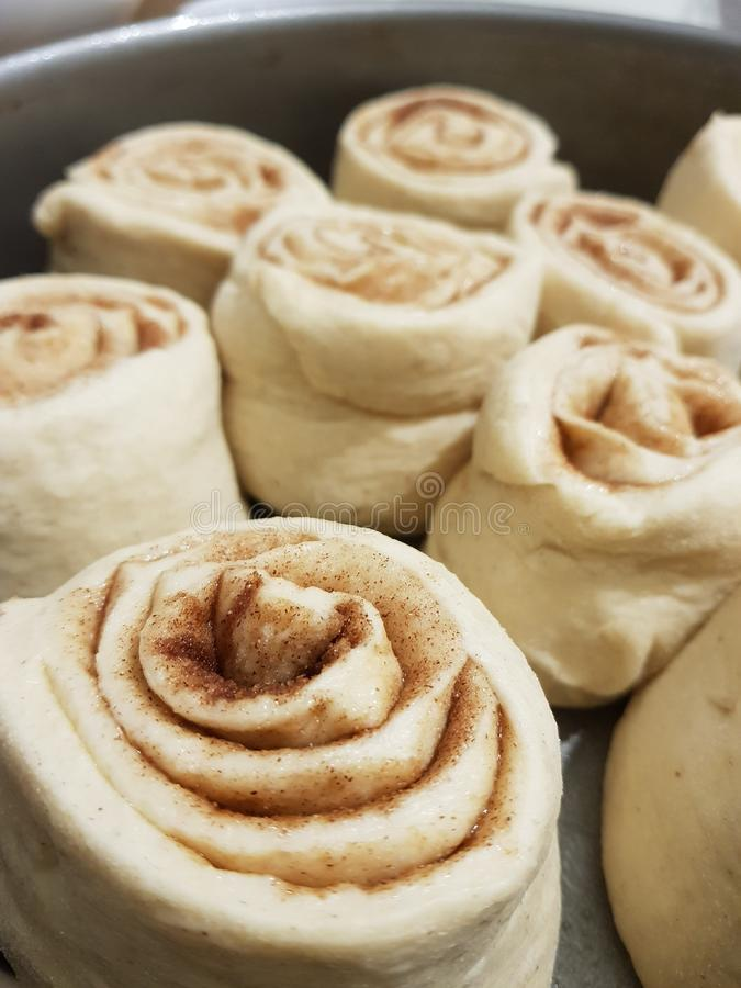 Cinnamon dough stock photo