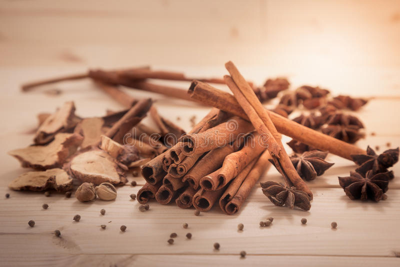 Cinnamon and five spices royalty free stock image