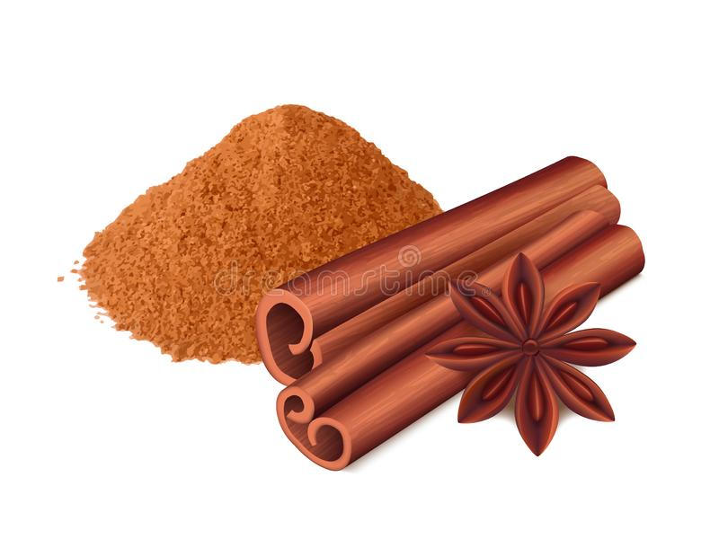 Cinnamon food. Spice sticks and leaf cooking collection aromatic cinnamon vector realistic. Illustration of cinnamon spice, ingredient spicy vector illustration