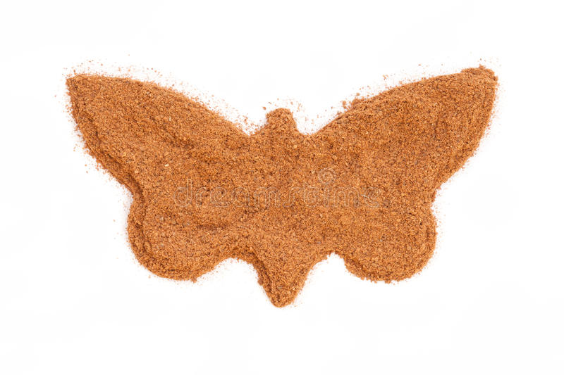 Cinnamon isolated in butterfly shape stock images