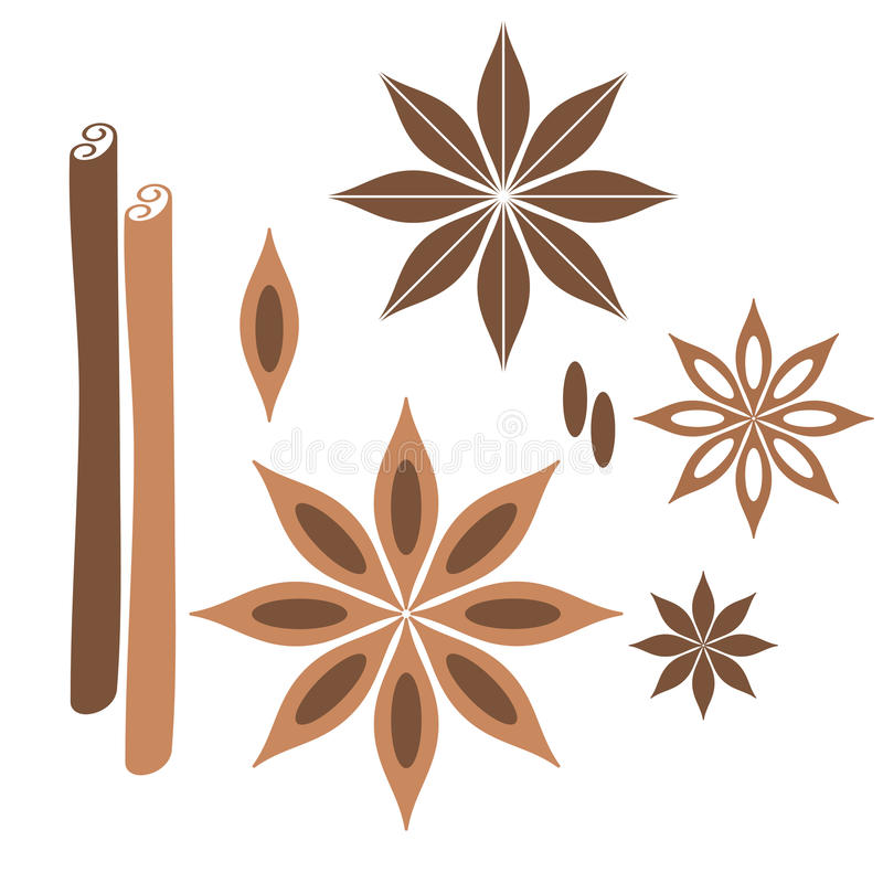 Cinnamon. Isolated objects on white background. Vector illustration (EPS 10 royalty free illustration