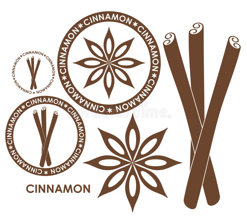 Cinnamon. Isolated objects on white background. Vector illustration (EPS 10 stock illustration