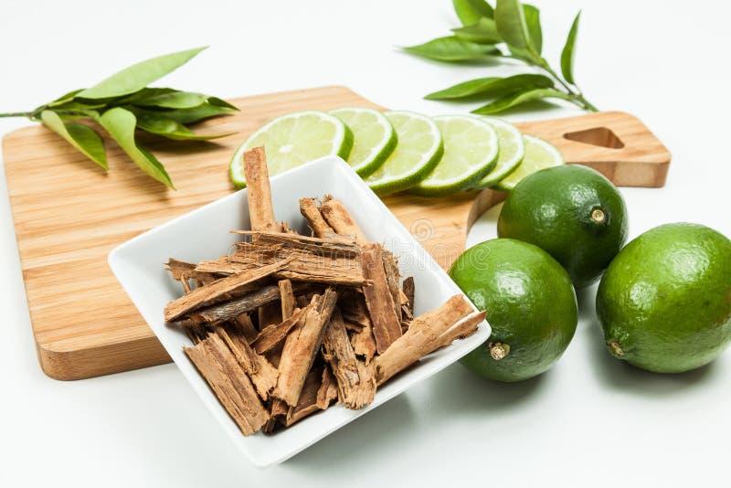 Cinnamon and lemon photo on neutral background.  royalty free stock photos