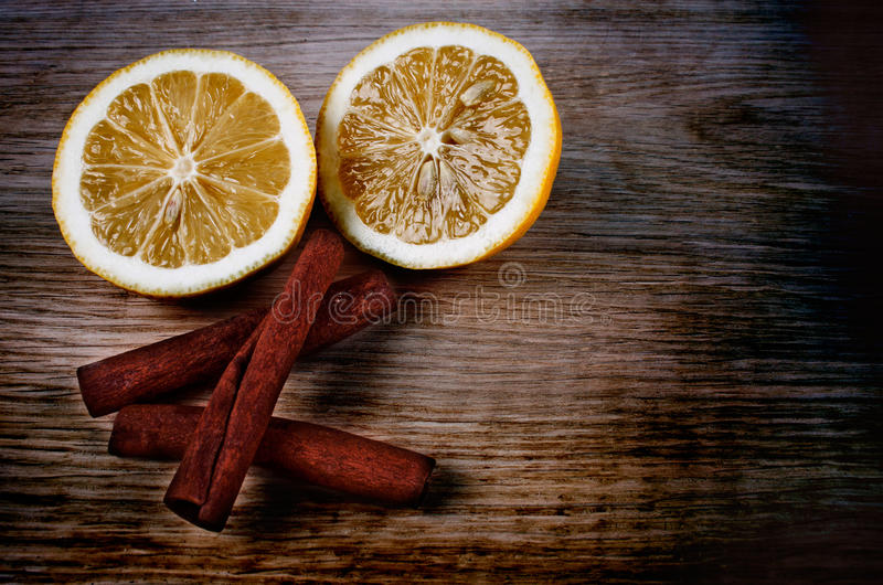 Cinnamon and lemon royalty free stock photography