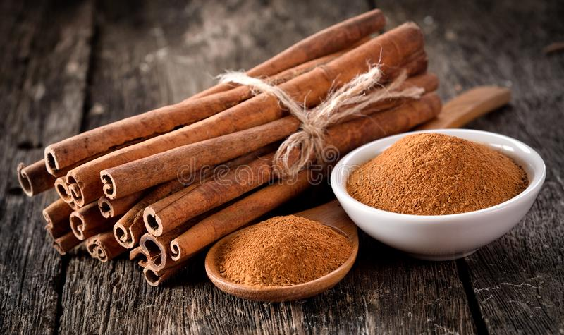 Cinnamon powder stock images