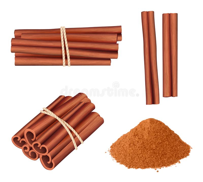 Free Cinnamon Realistic. Aromatic Herbs Dessert Plant Food Stick Cinnamon Spice Vector Pictures Collection Royalty Free Stock Photos - 144300658