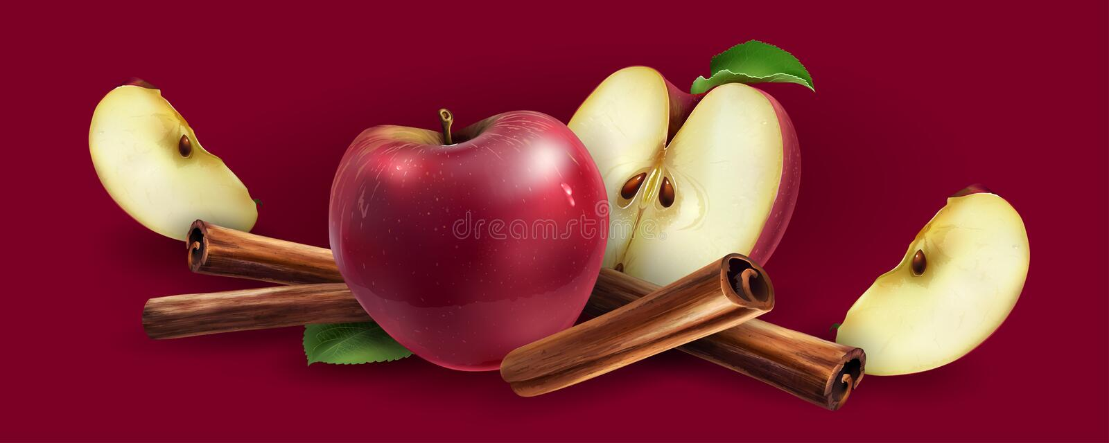 Cinnamon and red apples. On a red background vector illustration