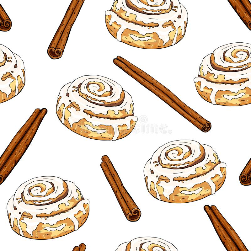 Free Cinnamon Roll Seamless Background Royalty Free Stock Image - 176486136