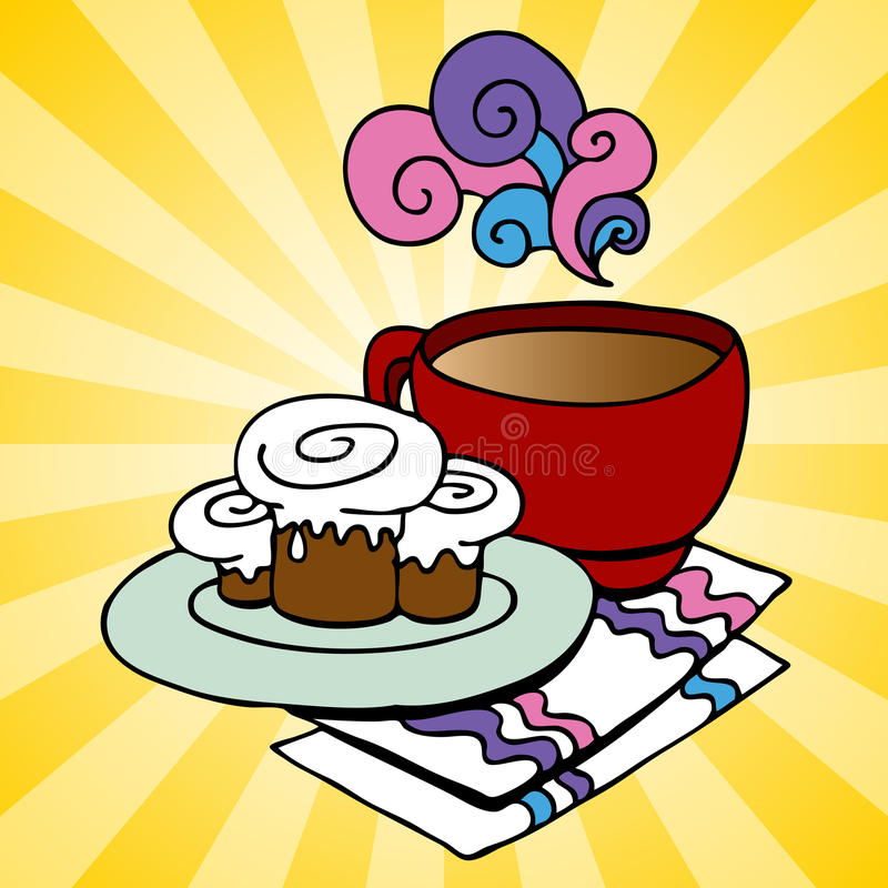 Download Cinnamon Rolls and Coffee stock vector. Image of shape - 18784171