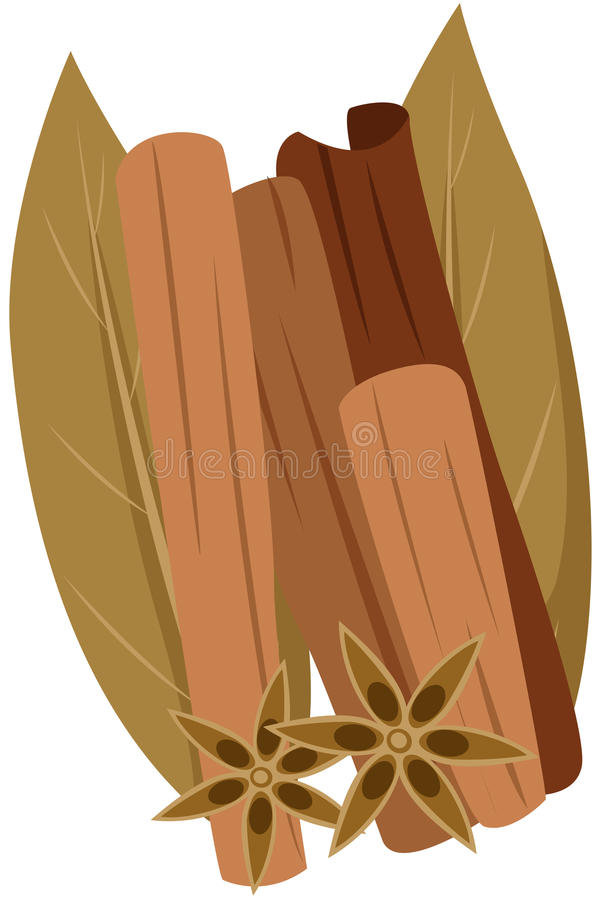Free Cinnamon, Star Anise And Dry Leaf Royalty Free Stock Image - 24338856