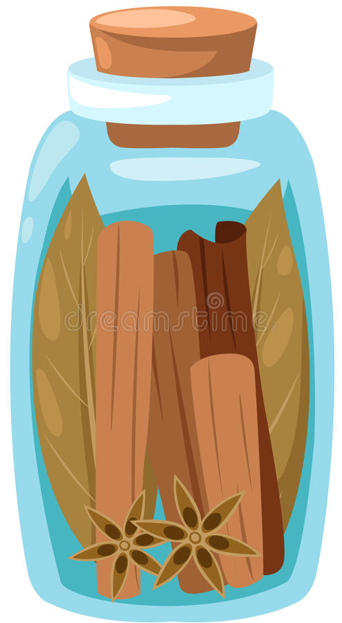 Download Cinnamon Star Anise And Dry Leaf In Glass Jar Royalty Free Stock Photography - Image: 24771287