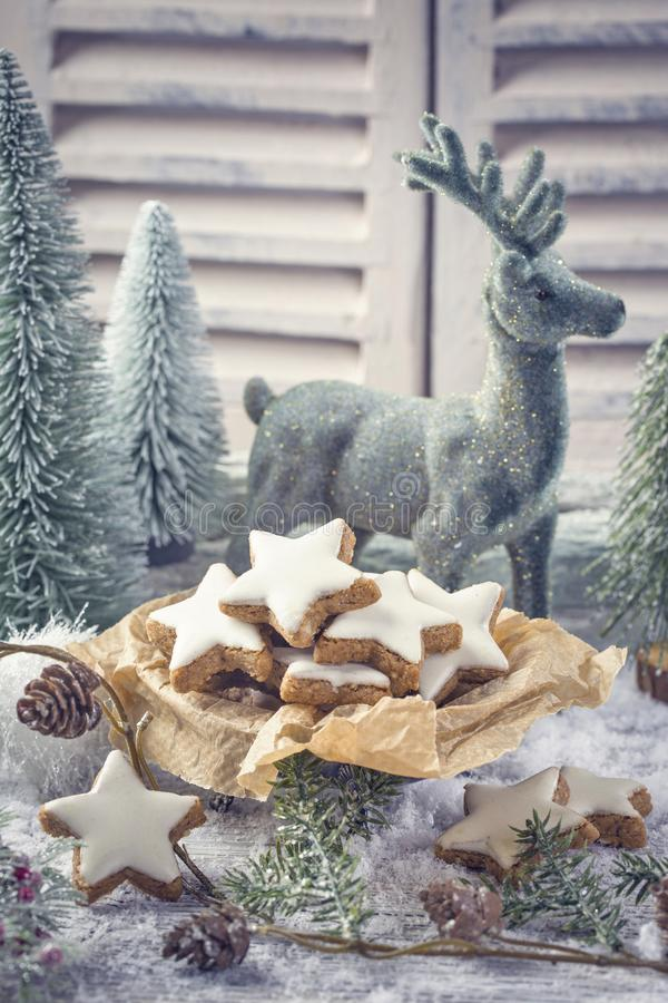 Cinnamon stars cookies. For christmas stock photos