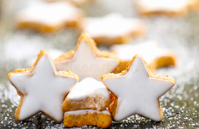 Cinnamon stars with icing royalty free stock photo