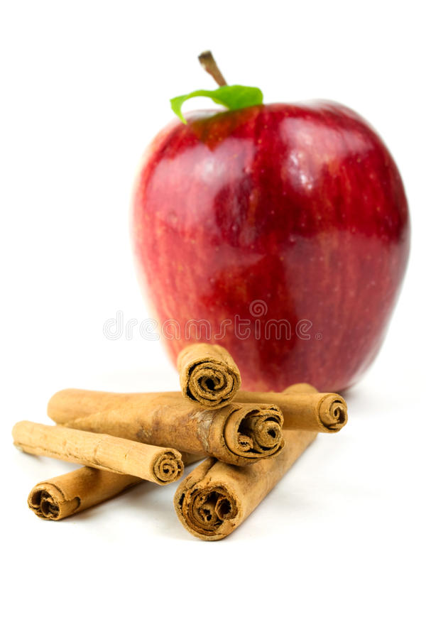 Download Cinnamon stick with apple stock image. Image of isolated - 18107755