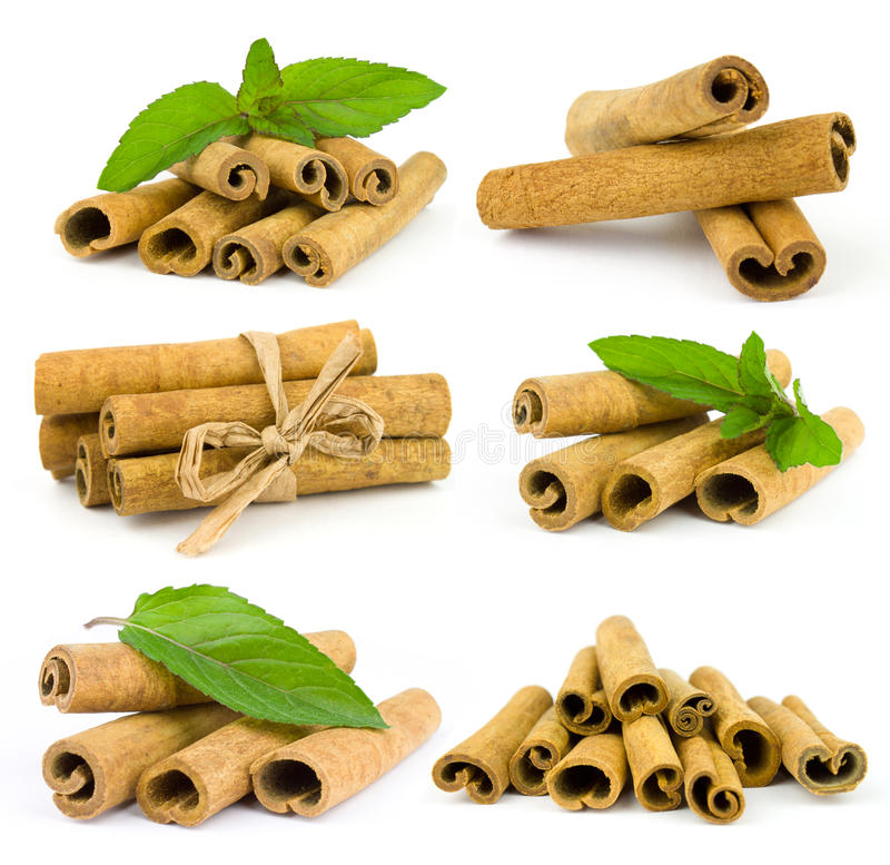 Free Cinnamon Sticks And Fresh Mint Leaf Stock Image - 25385931