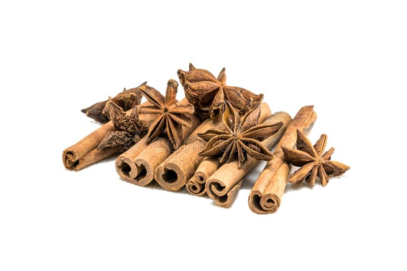 Cinnamon sticks and anis with white backgorund stock photo