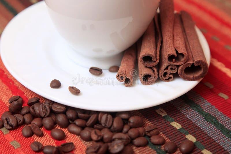 Cinnamon sticks with coffee royalty free stock image