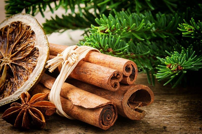 Cinnamon sticks, dried orange and aniseed stock image