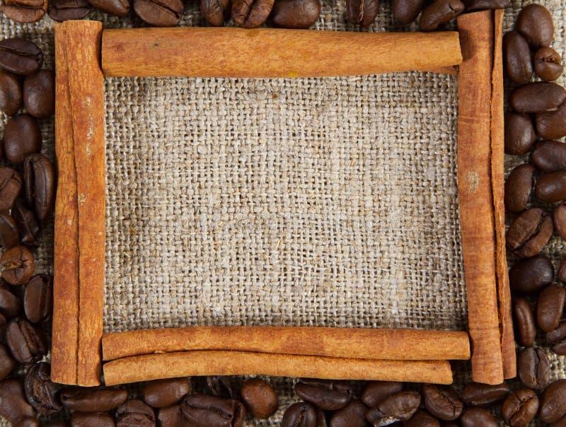 Cinnamon sticks frame on a sacking cloth