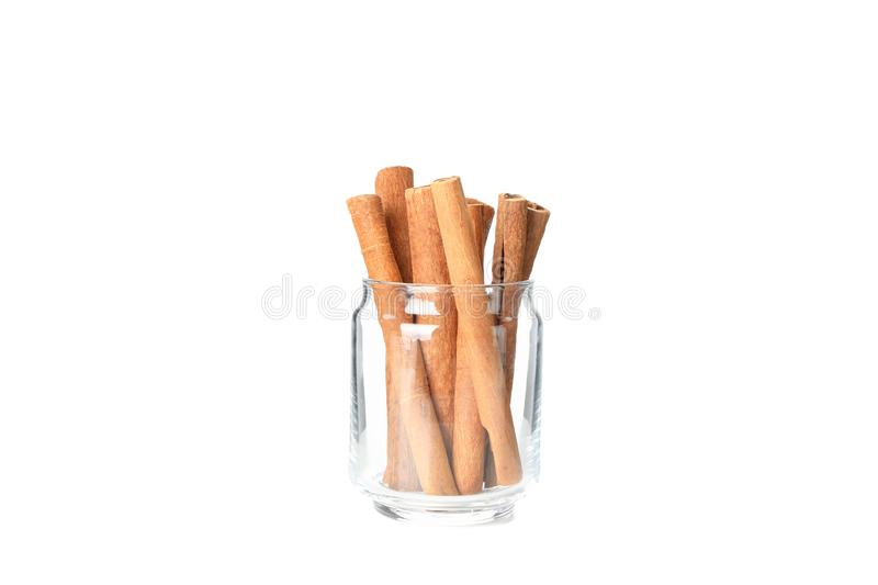 Cinnamon sticks in glass jar  stock photo