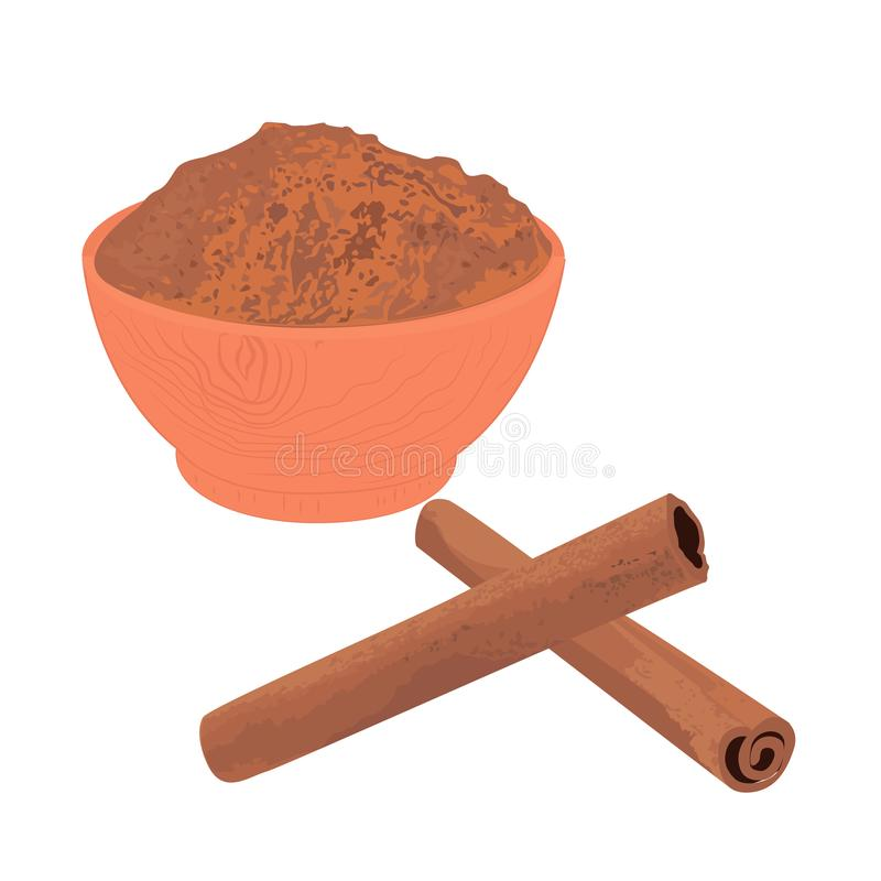 Cinnamon sticks and powder in a bowl. Vector illustration on a white background vector illustration