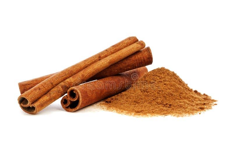 Cinnamon. Sticks and powder on white background