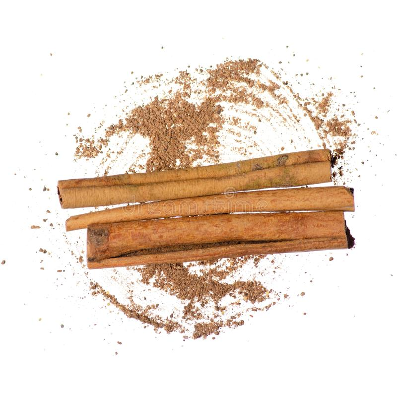 Cinnamon Sticks spice food on white backgrouns isolation stock photos