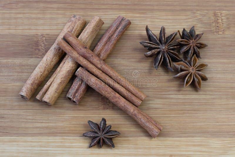Cinnamon sticks with star anise stock photo