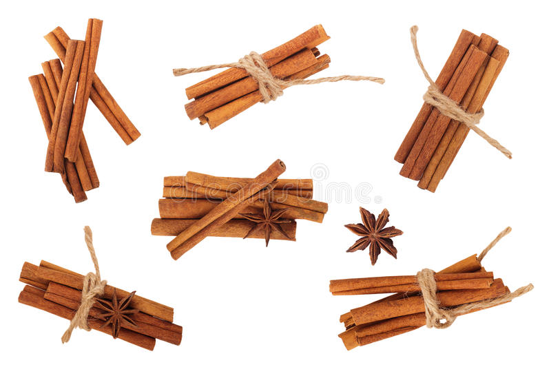 Cinnamon sticks and star anise isolated on white. Cinnamon sticks and star anise isolated on white background stock photography