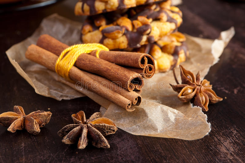 Cinnamone en koekje royalty-vrije stock foto
