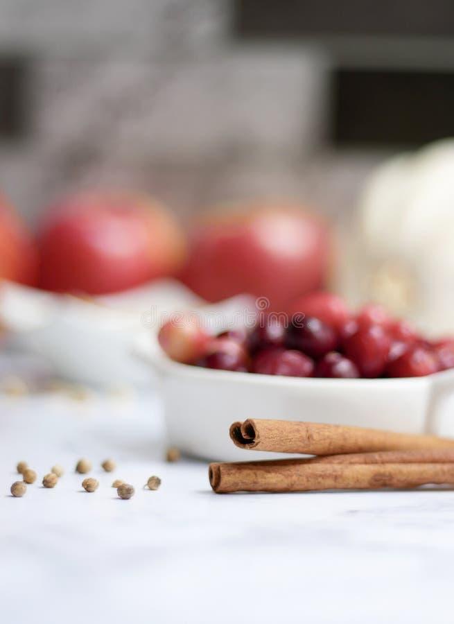 Cinnomon ed ingredienti della torta della spezia fotografie stock