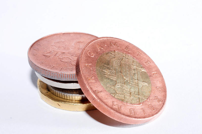 Cinqüênta coroas checas A moeda de República Checa Foto macro imagem de stock royalty free