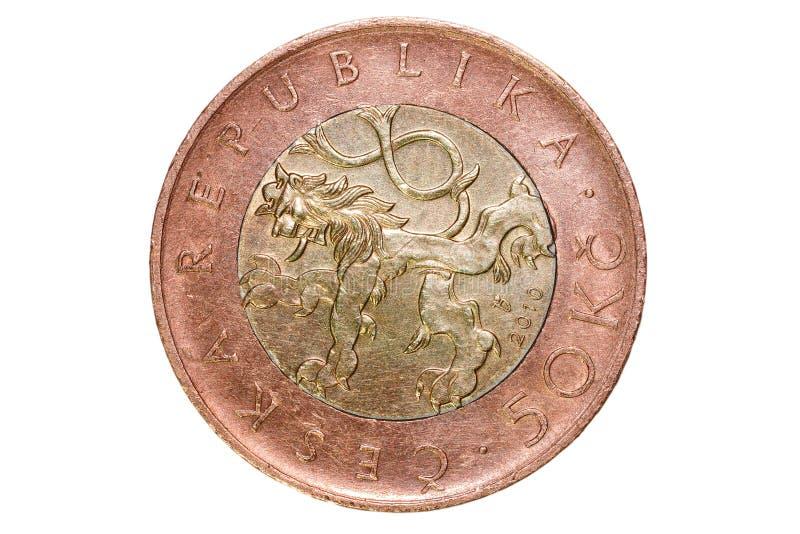Cinqüênta coroas checas A moeda de República Checa Foto macro de uma moeda Vista de Praga com Charles Bridge e de Praga Castl fotografia de stock royalty free