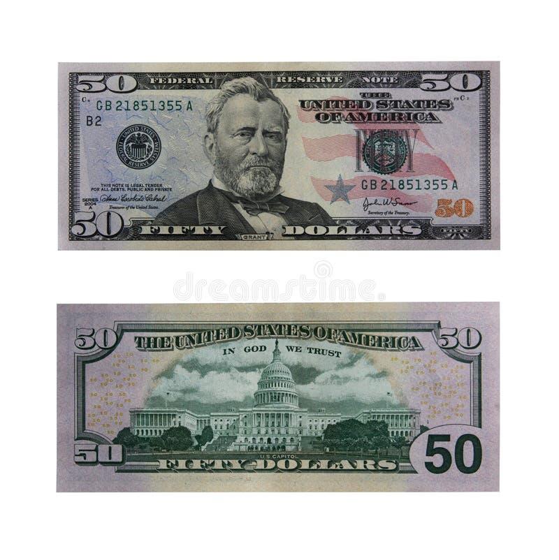 Cinqüênta dólares de conta com trajeto imagens de stock royalty free