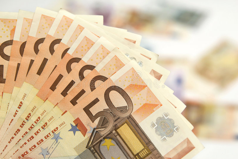 Cinqüênta euro- notas de banco fotos de stock