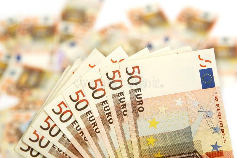 Cinqüênta euro- notas de banco fotos de stock royalty free