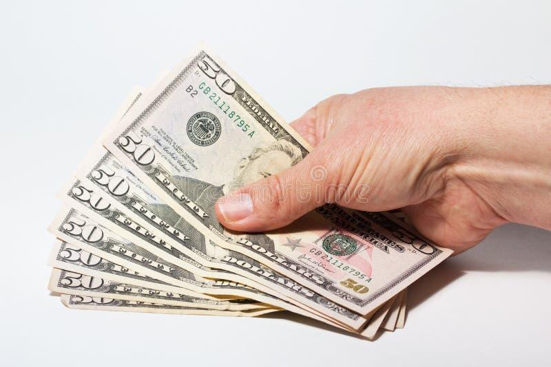 Cinqüênta notas de dólar fotografia de stock